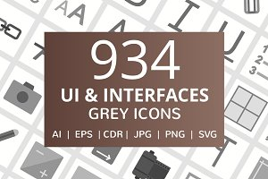 934 UI & Interfaces Flat Grey Icons