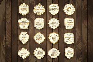 16 White and Gold Vintage Labels