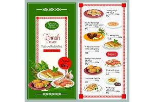 Finnish cuisine dishes vector menu