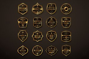 16 Black & Gold Quality Labels