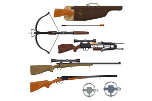 Hunting equipment and gun, vector
