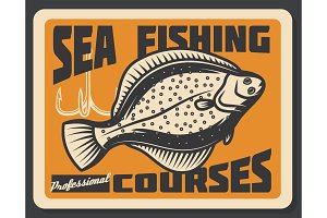 Sea fishing courses. Vector flounder