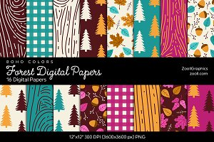 Forest Digital Papers - Boho Colors
