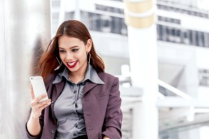 businesswoman use smartphone