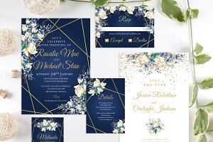 Navy Wedding Invitation Template