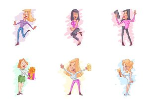 Girl Party Cartoon Illustration