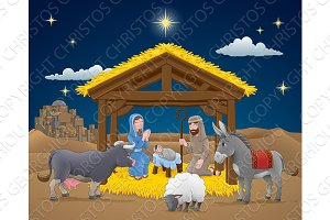 Cartoon Nativity Christmas Scene