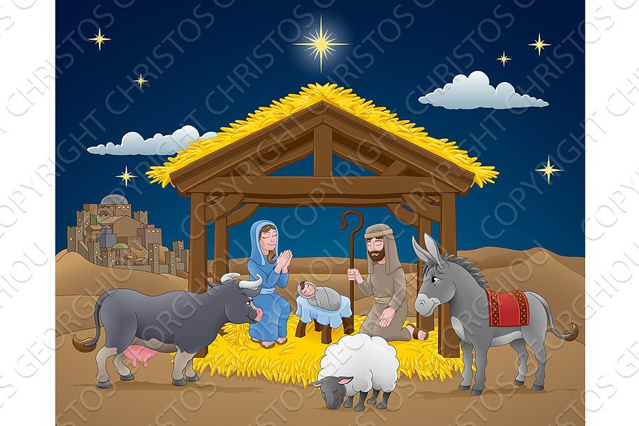Christmas Nativity.Cartoon Nativity Christmas Scene