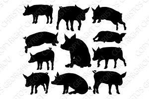 Pig Silhouettes Farm Animal Set