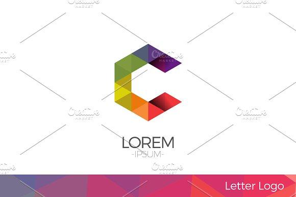 Letter C Vector Origami Logo icon.
