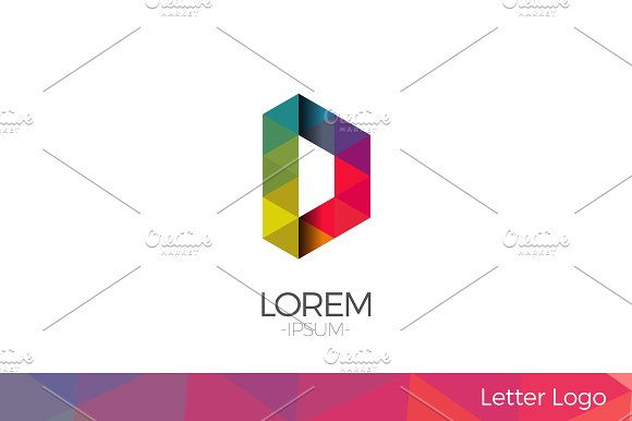 Letter D Vector Origami Logo icon.