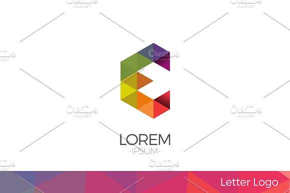 Letter E Vector Origami Logo icon.