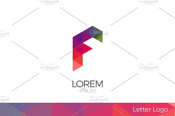 Letter F Vector Origami Logo icon.
