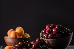 selective focus of bowls with ripe c