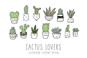Hand drawn Cactus seamless pattern