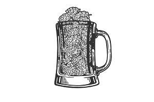 Hops plant in beer cup engraving