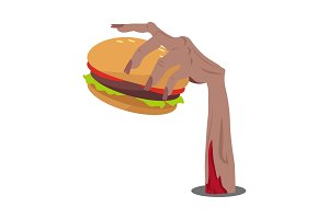 Hamburger in Zombie Hand Flat Vector