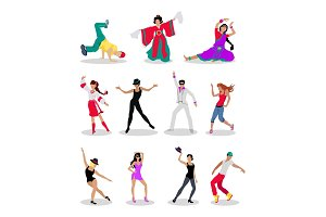 Set of Dancing Peoples Flat Vector