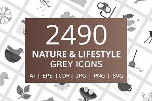 2490 Nature & Lifestyle Grey Icons