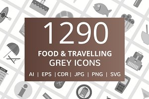 1290 Food & Travelling Grey Icons