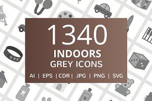1340 Indoors Flat Greyscale Icons