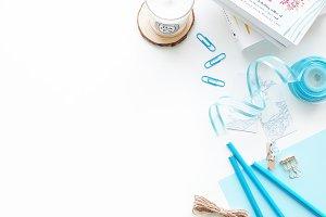 Blue-themed Styled White Desk