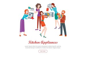 Kitchen Appliances. Set of People on