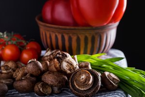 close-up shot of raw champignon mush