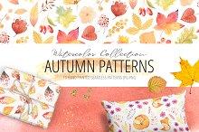 10 Watercolor Autumn Patterns