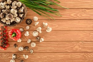 top view of champignon mushrooms and