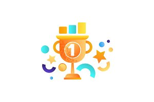 Business success symbol, winner cup