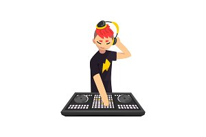 Male DJ in headphones playing track