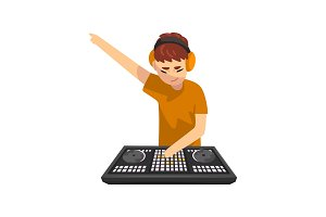 Male DJ playing track and mixing