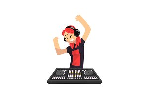 DJ girl in headphones playing track