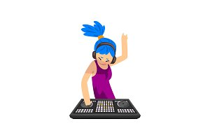 DJ girl with blue hair in