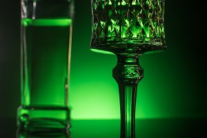 close-up shot of glass with absinthe