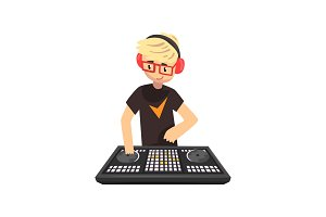 Male DJ mixing music on vinyl