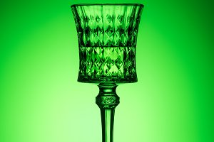 crystal glass of absinthe on reflect
