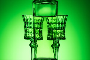 bottle of absinthe with crystal glas