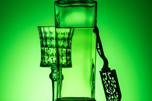 absinthe bottle with crystal glass a