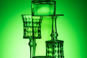 bottle of absinthe with lead glasses