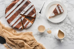 top view of tasty homemade cake with