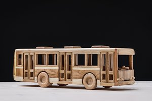 Toy for boys, handmade wooden bus.
