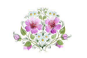 Ornament with daisies PNG watercolor