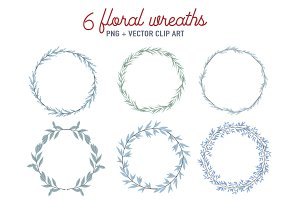 Floral wreaths set in blue