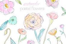 Pastel Watercolor Flowers