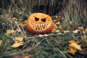 halloween jack-o-lantern with antrop