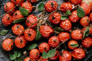 Close-up view of baked tomatoes with