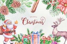Hearty Christmas Watercolor Graphics