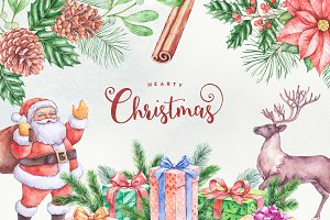 Hearty Christmas Watercolor Graphics